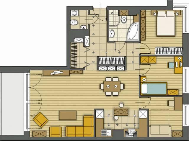 Propozycja 1. Zgodnie z Pana sugestią pokój dzienny powiększyłam o korytarzyk usytuowany w centrum mieszkania - dzięki temu w strefie dziennej wygospodarowałam miejsce na wygodną jadalnię. Dodatkowy pokój, przeznaczony dla gości, urządziłam w dawnej kuchni, a tę przesunęłam w stronę kąta wypoczynkowego.