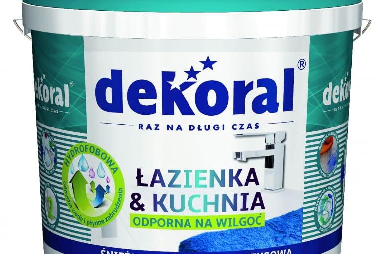 Łazienka & Kuchnia biały/DEKORAL| Rodzaj: farba lateksowa | wydajność: do 12 m2/l przy jednej warstwie | odporność na szorowanie: klasa 3 wg PN-EN-13300 | kolor: śnieżnobiały | stopień połysku: matowa | opakowania: 1 l, 3 l, 5 l, 10 l Cena: 141,68 zł/10 l, www.dekoral.pl