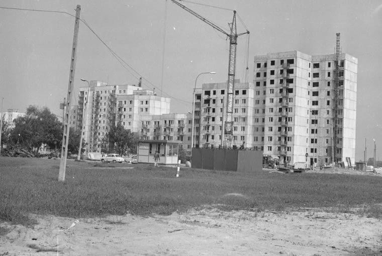 Na budowie osiedla Ursynów w Warszawie, wrzesień 1977 rok