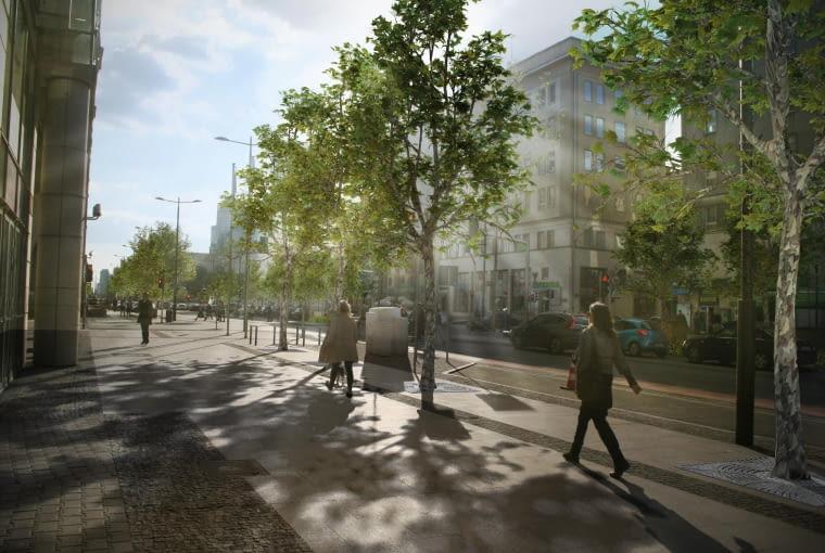 Projekt nowej zieleni na ulicy Świętokrzyskiej w Warszawie - jeden z wariantów projektowych