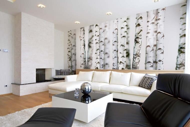 Motyw lasu na tapecie uspokaja, wycisza, dodaje wnętrzu harmonii. Na zdjęciu: Nova Eco Brzozy, flizelinowa, 400 × 200 cm, cena 715 zł, DEKEA, www.dekea.pl