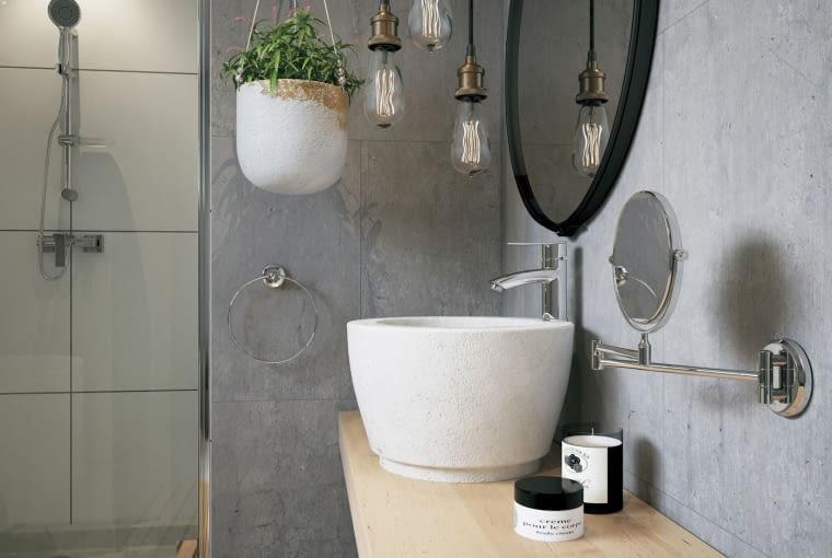Bateria umywalkowa stojąca Veneto VerdeLine, Lusterko kosmetyczne na ramieniu