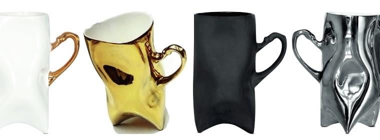Trident - Kubek ręcznie wykonany z najlepszej porcelany. Uszko białego kubka pomalowane jest prawdziwym złotem.