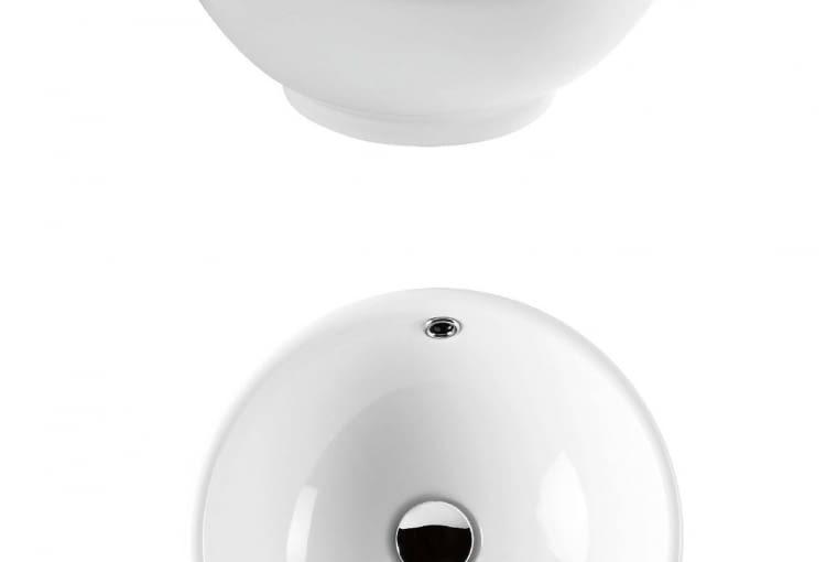 Arno/ARMATURA KRAKÓW. Umywalka nablatowa o średnicy 41 cm, kształtem przypominająca ceramiczną misę; wysokie krawędzie pasują do armatury nablatowej. Cena: 486 zł, www.grupa-armatura.com