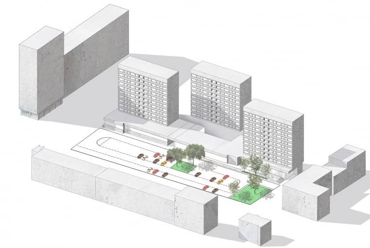 Koncepcja przebudowy Rynku Krowoderskiego w Krakowie wg. Bartosz Dendura Pracownia Architektoniczna