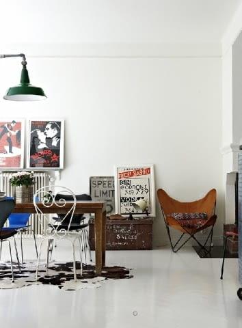 wnętrza, vintage, industrialne wnetrza, loft, biała podłoga