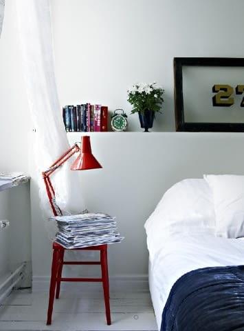 sypialnia, wnętrza, vintage, biała podłoga