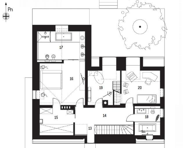Rzut piętra: 13. komunikacja 4,8m2; 14. hol 14,7m2; 15. garderoba 8,9m2; 16. sypialnia 24,2m2; 17. łazienka 16,9m2; 18. łazienka 6,7m2; 19. pokój 16,0m2; 20. pokój 11,5 m2