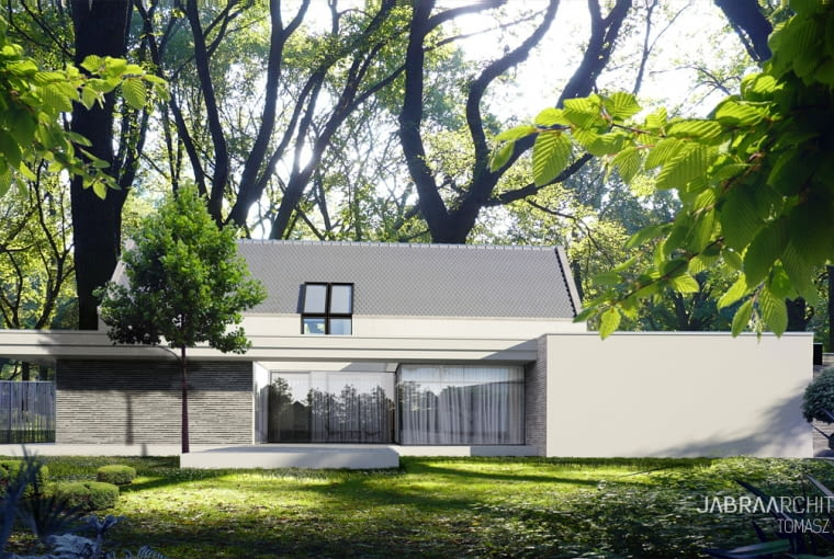 Forrest House: dom modelowy. Projekt nowoczesnej wilii w parkowej scenerii.