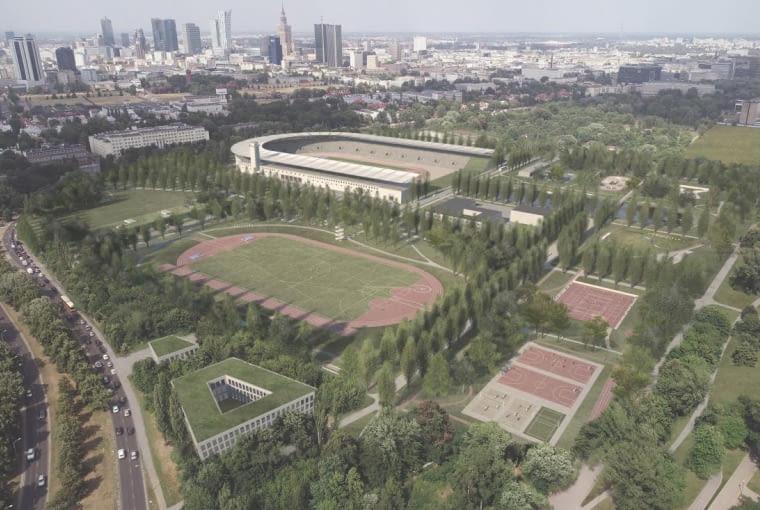 Praca zespołu Aleksandra Wadasa, która zdobyła pierwszą nagrodę w konkursie na koncepcję zagospodarowania okolic stadionu Skry
