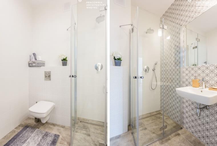 Podobne wzory pojawiają się na płytkach w łazience na parterze i na piętrze. W pierwszej zastosowano funkcjonalną kabinę z uchylnymi, szklanymi drzwiami i brodzikiem typu walk-in.