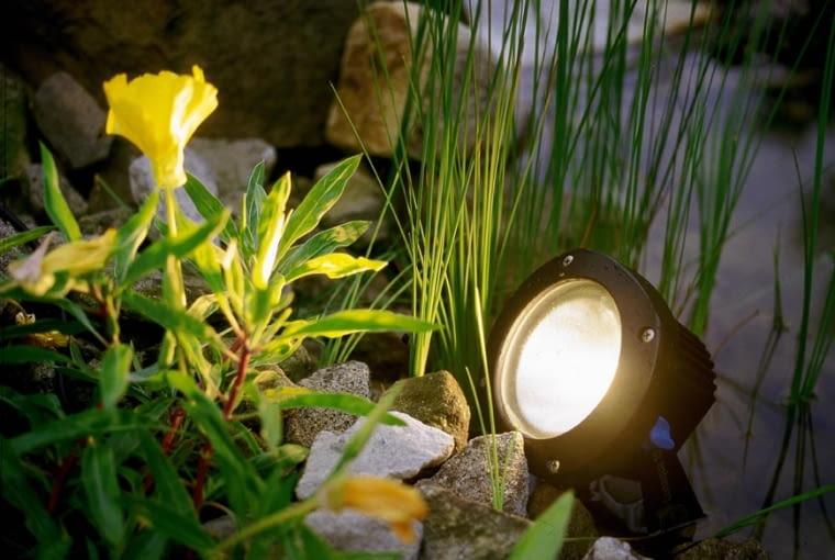 LAMPA REFLEKTOR SWIATLO OSWIETLENIE JEZIORKO WODA STAW ZBIORNIK WODNY OCZKO WODNE