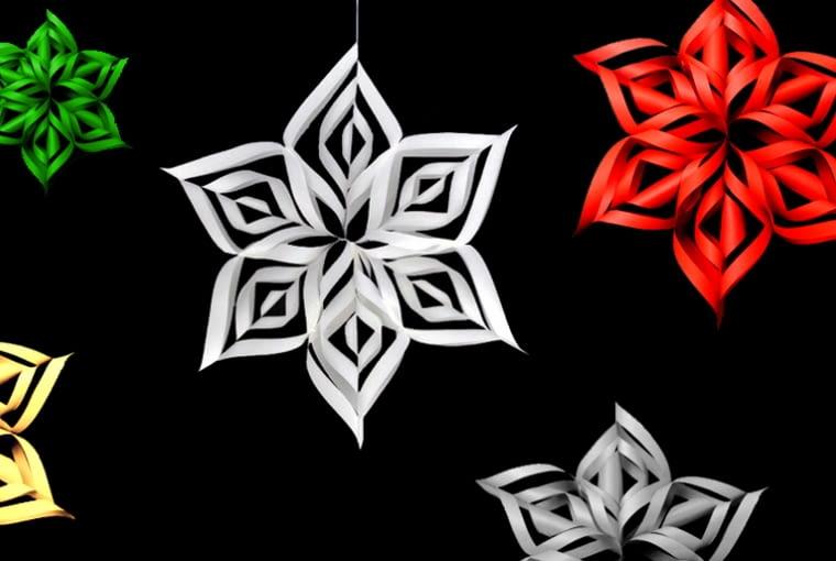Papierowe gwiazdy 3D, święta, ozdoby świąteczne, dekoracje domu