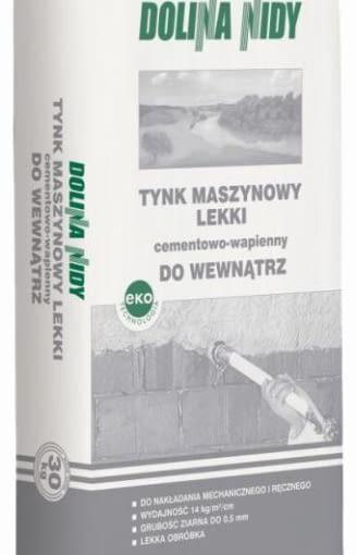 Tynk Cementowo-Wapienny Maszynowy Lekki Wewnętrzny Dolina Nidy, cena 15,50 zł/opakowanie 30 kg