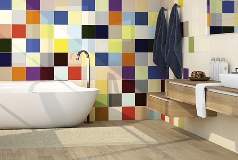 kolorowe płytki, płytki łazienkowe