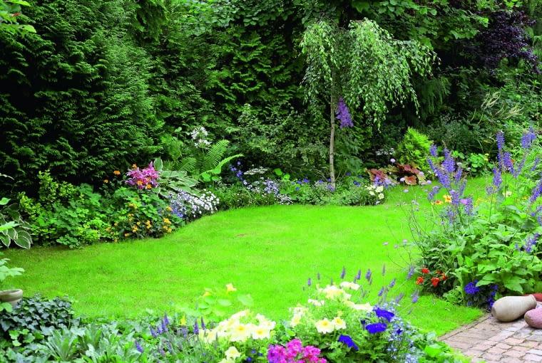 Kwiatową bordiurę na skraju trawnika tworzą najróżniejsze byliny z funkiami i bodziszkami na czele.
