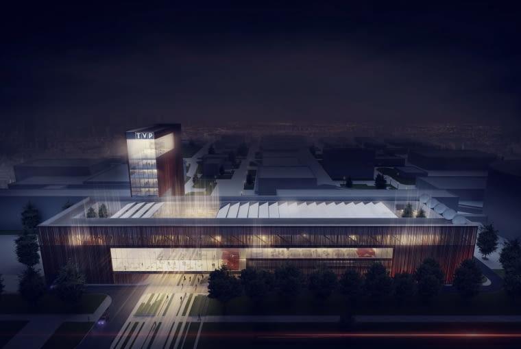 Nowa siedziba kanałów informacyjnych TVP przy ul. Woronicza. Widać 50-metrową wieżę ze studiem panoramicznym na samej górze.