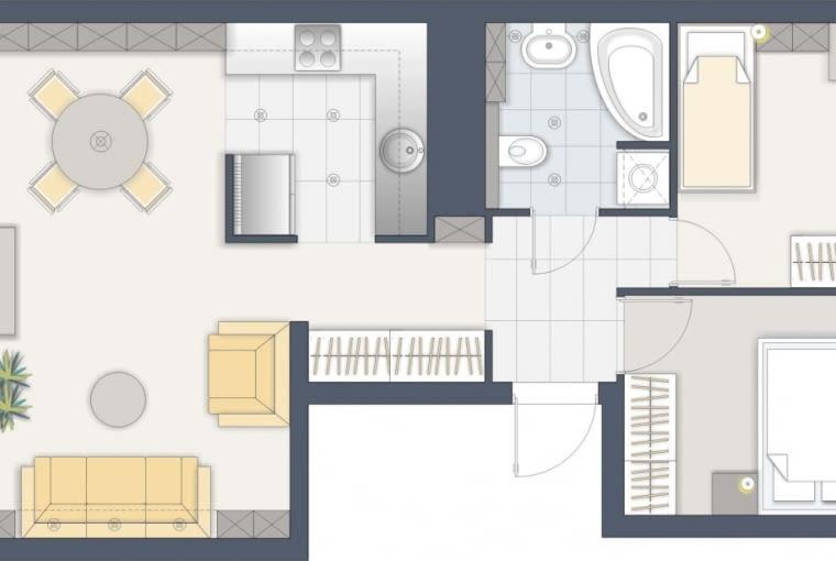 Justyna Burdow-Gołoś: 54,9 m kw., 3 pokoje, dla 3 osób.