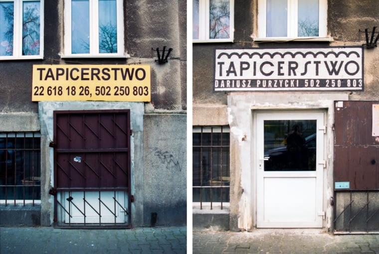 Nowy szyld dla tapicera zaprojektował Jacek Wielebski.