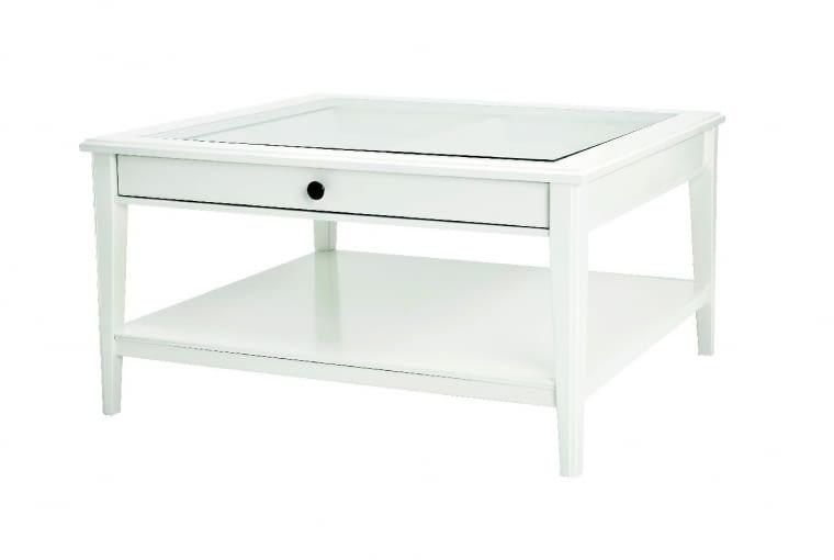 W stylu tego wnętrza: Stolik kawowy, drewno i szkło, 93 x 93 cm IKEA, 699 zł