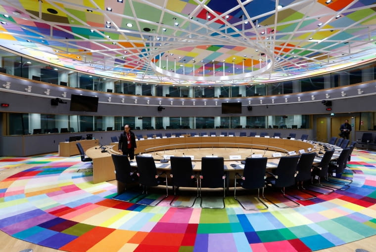A view shows a meeting room in Europa, the new European Council building in Brussels, Belgium December 9, 2016. Building: Philippe Samyn and Partners architects & engineers, lead and design partner, Studio Valle Progettazioni architects, BuroHappold engineers; colour compositions by Georges Meurant. REUTERS/Yves Herman
