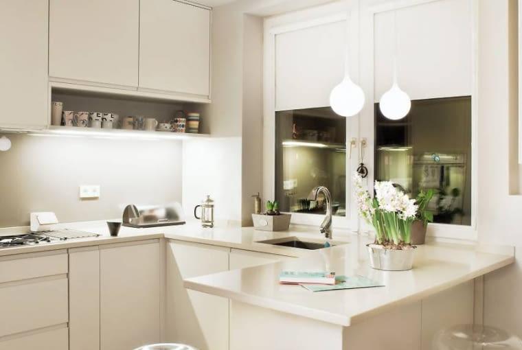 Kuchnie. Dobre warunki do pracy na blacie roboczym zapewnia jasne światło emitowane przez świetlówki liniowe ukryte w spodzie górnych szafek. Blat pod oknem oświetlają halogeny zainstalowane w podwieszanym suficie.