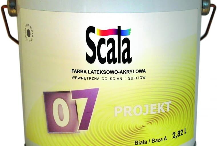 Projekt 07/SCALA| Rodzaj:lateksowa farba akrylowa | dobra siła krycia i przyczepność | wydajność:12 m2/l | stopień połysku:satynowa | odporność:5000 cykli zmywania zgodnie z ISO 11998-2006, klasa 1 zgodnie z DIN 13300 | 3500 kolorów | opakowania:0,9 l, 2,7 l, 9 l. Cena:379,99 zł/9 l, www.farbyscala.pl