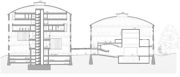 Projekt adaptacji dawnych zbiorników gazu na centrum kultury - przekrój
