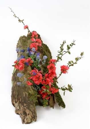 Płaskie naczynie pokryto obrośniętą mchem korą. Ułożono na nim kwitnące gałęzie pigwowca, próżnika oraz szafirków