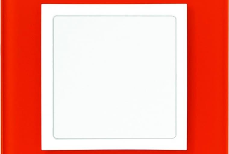 WYŻSZA CENA 82 Nature/Kontakt Simon;łącznik, pojedynczy klawisz, białe tworzywo, ramka szkło w kolorze mandarynki Cena: ok. 92 zł