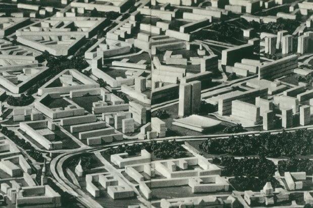 Jedna z koncepcji zagospodarowania centrum Szczecina z lat 60. XX wieku
