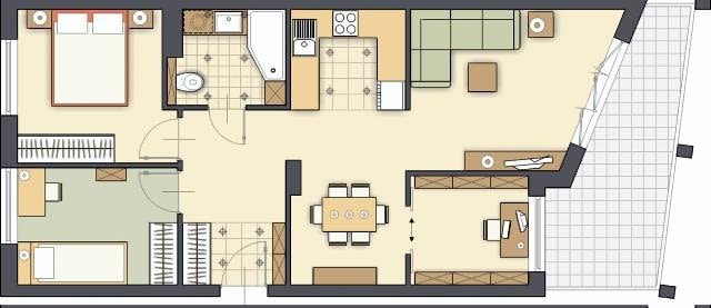 Projektowanie wnętrz. Projekt 1. Przeniesienie kuchni na drugą stronę mieszkania, do pokoju dziennego, to dobry pomysł. Dzięki temu w pomieszczeniach na lewo od wejścia będzie można zaaranżować obie sypialnie, a w miejscu jednego z mniejszych pokoi urządzić cichy gabinet oraz kącik jadalny ze stołem dla sześciu osób.