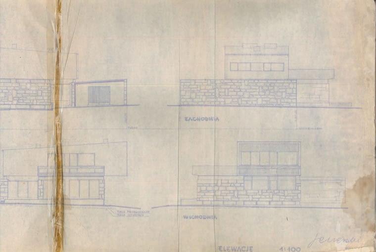 Dom w Częstochowie - elewacje. Oryginalne rysunki Bogdana Jezierskiego