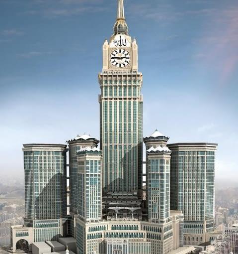 Królewska Wieża Zegarowa Makkah Clock Royal Tower w Mekce w Arabii Saudyjskiej to drugi najwyższy budynek świata.