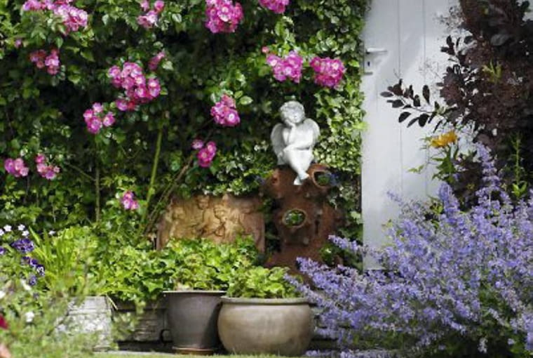 Cherub sitting under Rosa 'American Pillar', Cotinus and Nepeta to the right of a wooden door - Dunromin, Somerset