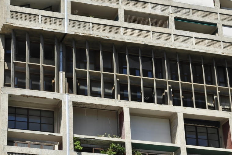 Jednostka Marsylska, proj. le Corbusier - detale fasady wschodniej