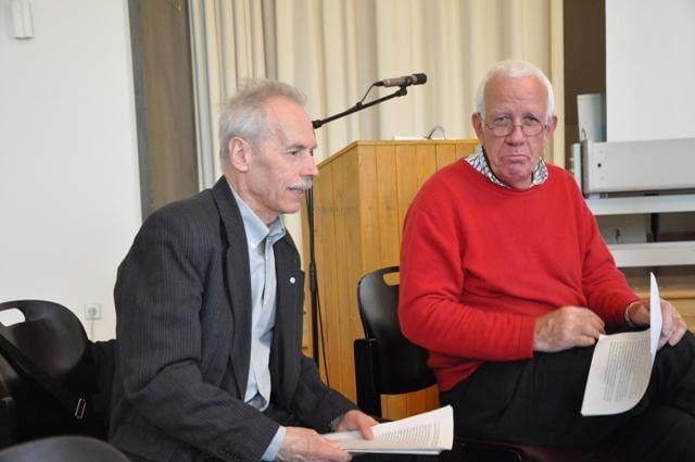 Prof. Krzysztof Bieda oraz prof. Niels Gutschow w trakcie seminarium