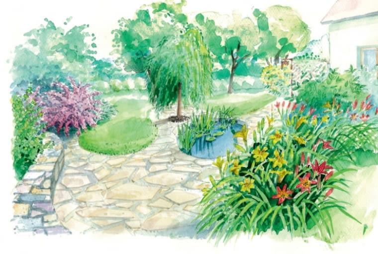 Widok ogrodu po metamorfozie według pierwszego projektu