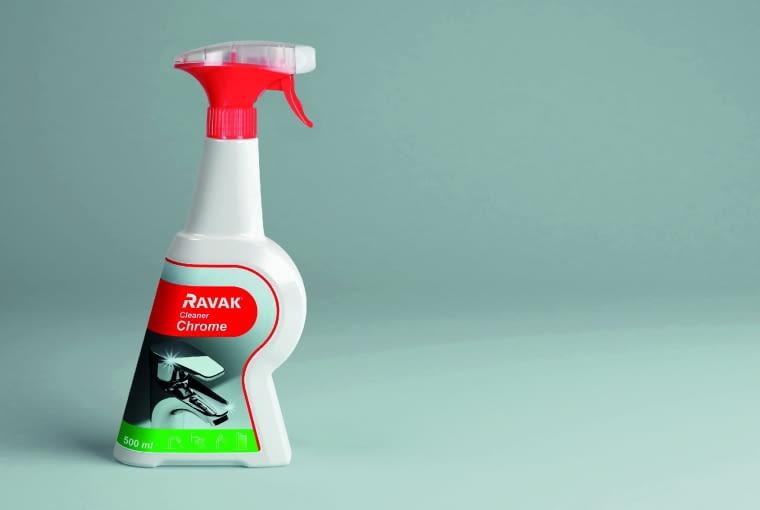 RAVAK Cleaner Chrome/RAVAK. Skuteczny środek, zapewniający higienę; usuwa kamień wodny i resztki osadów z baterii i innych chromowanych powierzchni. Wygodny w użyciu.Cena: 25 zł (500 ml), www.ravak.pl