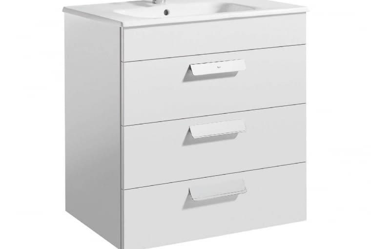 Debba/ROCA. Zestaw łazienkowy Unik Standard składający się z umywalki ceramicznej (60 x 45 cm) z otworem na baterię w środku, syfonu oraz podwieszanej szafki z trzema szufladami i organizerem. Cena (netto): 1580 zł, www.roca.pl