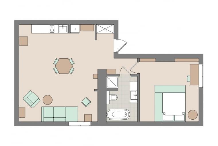 Plan mieszkania: 50 m kw.