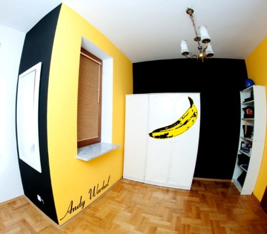 sypialnia, wnętrza, meble, pop art