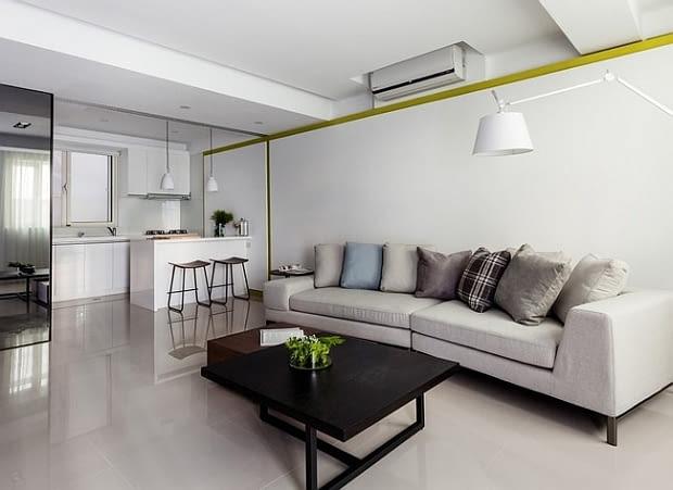 nowoczesne mieszkanie, mieszkanie z otwartą kuchnią, jak wydzielić kuchnię, jasne mieszkanie