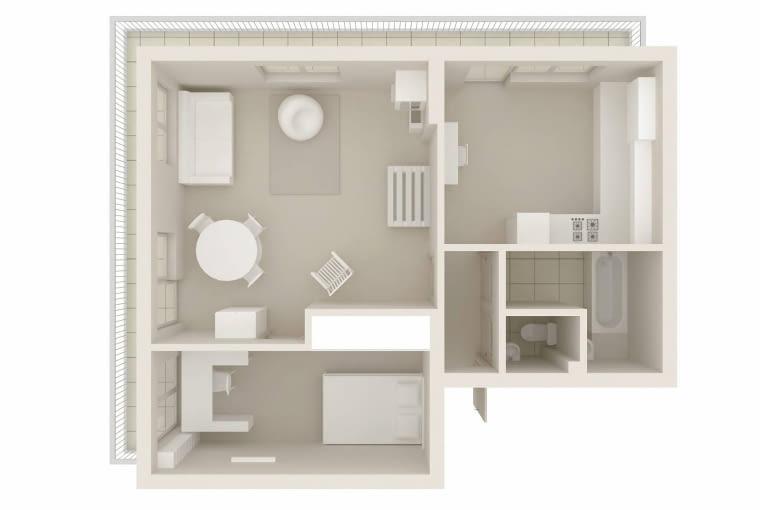 Plan mieszkania - 49 m kw. dwa pokoje.