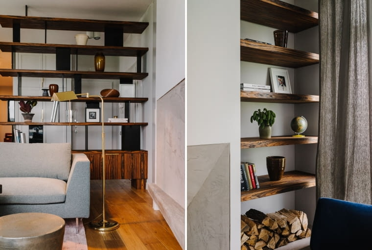 Neutralne ściany wspaniale wydobyły piękno palisandrowego drewna o miodowym odcieniu i widocznym usłojeniu.