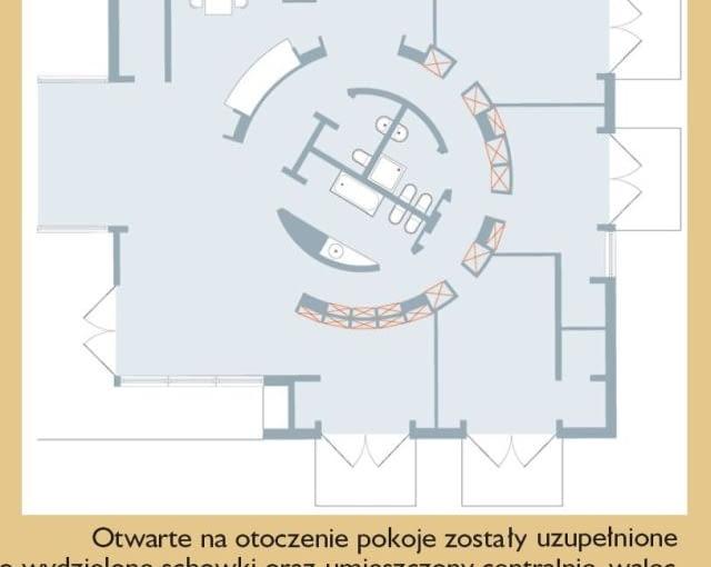Otwarte na otoczenie pokoje zostały uzupełnione o wydzielone schowki oraz umieszczony centralnie walec z zapleczem sanitarnym. Pierścień korytarza to jednocześnie garderoba. Co ciekawe - od góry dostaje się tu naturalne światło! Wszystkie te przestrzenne zabiegi nie tylko uatrakcyjniają wnętrza, ale i dodają im funkcjonalności