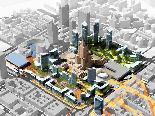 """To wizja opracowana przez jedną z największych pracowni architektonicznych świata. Jej projekt wracał do koncepcji zabudowy wieżowej, choć w zupełnie innej formie, niż tej ze wcześniejszej koncepcji. Architekci zaproponowali stworzenie dwóch wysokich pierzei wzdłuż Emilii Plater oraz Świętokrzyskiej. Postanowiliśmy się włączyć do dyskusji nad planem zagospodarowania placu Defilad, bo czujemy, że dotychczasowe projekty nie wykorzystywały potencjału tego miejsca - mówi Steve Jones, dyrektor polskiego oddziału Aedasa Plan zakładał """"pogodzenie się"""" z PKiN, którego istnienie było po prostu faktem. Architekci zamiast podkreślać jego sylwetkę, chcieli go jednak uczynić jednym z wielu wieżowców, co osłabiło by jego znaczenie w przestrzeni. Ciekawym pomysłem, było także schowanie na wysokości PKiN ulicy Marszałkowskiej do podziemnego tunelu. Dzięki temu Plac stałby się zdecydowanie bardziej dostępny ze wschodnich okolic śródmieścia. Kontrowersje wzbudził natomiast pomysł okrojenia zieleni w Parku Świętokrzyskim pod nową zabudowę."""