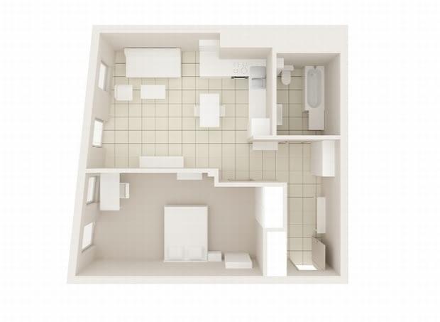 Mieszkanie, 49 m kw., plan mieszkania