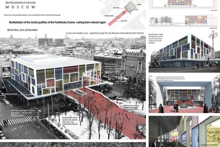 Filipe Oliveir Dias dla moskiewskiego kina nową, przeszkloną fasadę. Prace modernizacyjne według jego projektu nie naruszyłyby natomiast oryginalnej konstrukcji budynku