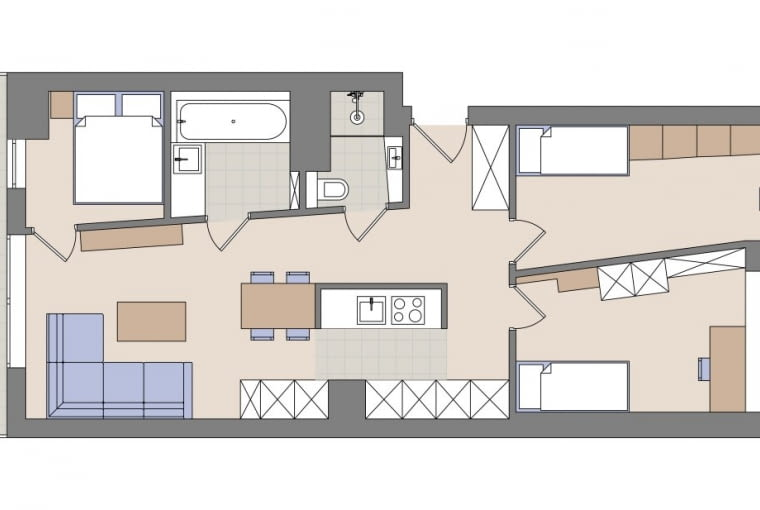 Plan mieszkania: 68 m kw.